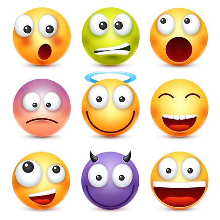 Een smiley, emoticonset. Geel gezicht met emoties. Gezichtsuitdrukking. 3D-realistische emoji. Droevige, gelukkige, boze gezichten. Grappig stripfiguur. Web pictogram. Vector illustratie. Stock Illustratie