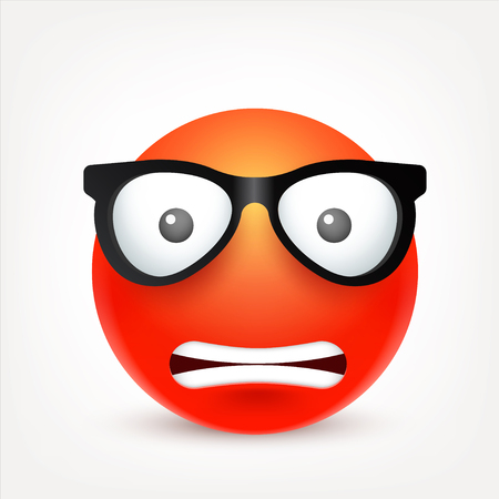smiley: Smiley,emoticon. Red face with emotions. Facial expression. 3d realistic emoji. Sad,happy,angry faces.Funny cartoon character.Mood. Web icon. Vector illustration.