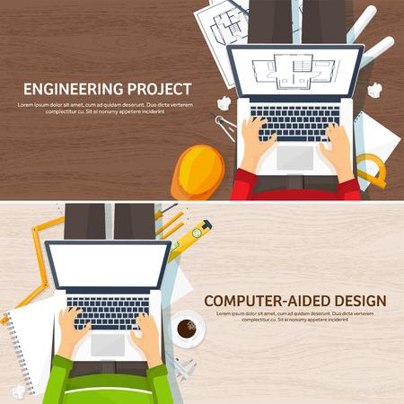 ベクトルの図。建築工学図面、建設。建築プロジェクト。デザイン、スケッチします。ツールを備えたワークスペースです。建物を計画する。  イラスト・ベクター素材