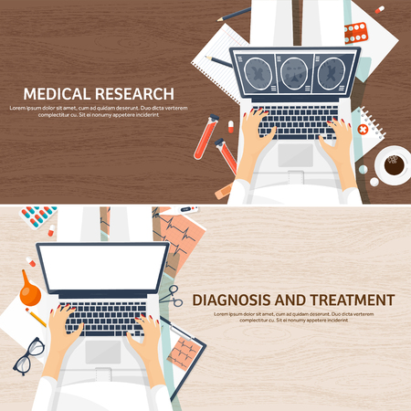 Medical flat background. Health care,first aid,research, cardiology. Medicine,study. Chemical engineering ,pharmacy.Wooden background.