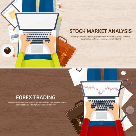 ベクトルの図。フラット バック グラウンド。市場での売買。アカウントの取引プラットフォームです。金儲け、ビジネス。解析。投資しています。