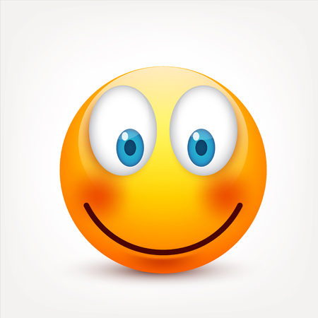 Smiley with blue eyes,emoticon set. Yellow face with emotions. Facial expression. 3d realistic emoji. Sad,happy,angry faces.Funny cartoon character.Mood.Vector illustration. Zdjęcie Seryjne - 83012199