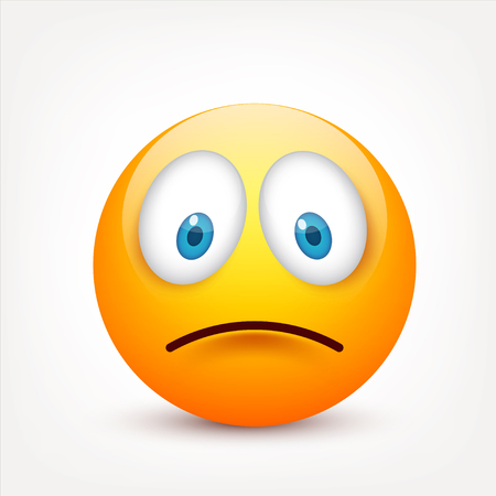 Smiley with blue eyes,emoticon set. Yellow face with emotions. Facial expression. 3d realistic emoji. Sad,happy,angry faces.Funny cartoon character.Mood.Vector illustration. Zdjęcie Seryjne - 83012198