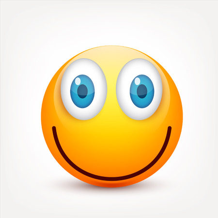 Smiley with blue eyes,emoticon set. Yellow face with emotions. Facial expression. 3d realistic emoji. Sad,happy,angry faces.Funny cartoon character.Mood.Vector illustration. Zdjęcie Seryjne - 83012204