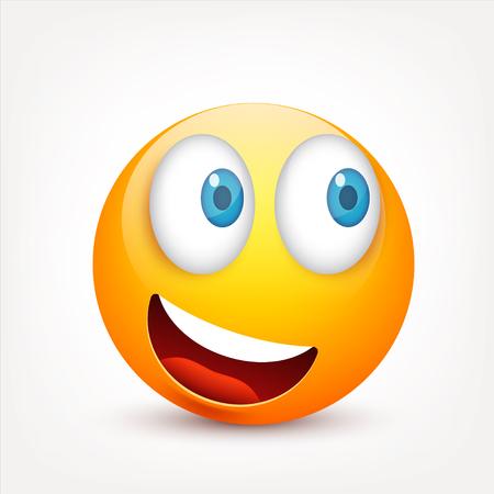 Smiley met blauwe ogen, emoticonset. Geel gezicht met emoties. Gezichtsuitdrukking. 3D-realistische emoji. Droevige, gelukkige, boze gezichten. Grappig beeldverhaalkarakter. Vectorillustratie. Stock Illustratie
