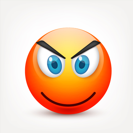 Smiley with blue eyes,emoticon. Yellow face with emotions. Facial expression. 3d realistic emoji. Sad,happy,angry faces.Funny cartoon character.Mood.Vector illustration. Zdjęcie Seryjne - 83012214