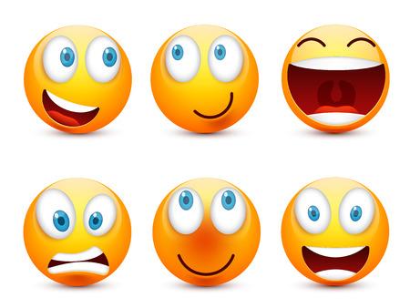 Smiley con ojos azules, conjunto de emoticonos. Cara amarilla con emociones. Expresión facial. 3d emoji realista. Ilustración de personaje de dibujos animados divertido.Mood.Vector. Foto de archivo - 83012239