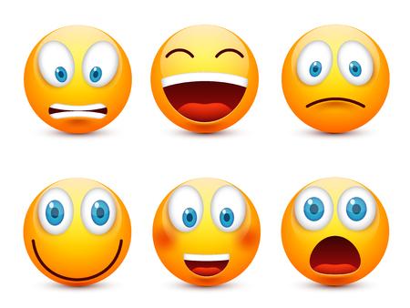 Smiley z niebieskimi oczami, zestaw emotikonek. Żółta twarz emocji. Wyraz twarzy. 3D emoji realistyczne. Zabawna charakter cartoon.Mood.Vector cartoon ilustracji.