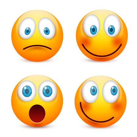 Smiley with blue eyes,emoticon set. Yellow face with emotions. Facial expression. 3d realistic emoji. Sad,happy,angry faces.Funny cartoon character.Mood.Vector illustration. Zdjęcie Seryjne - 83138908