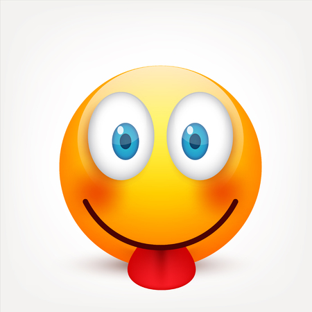 Smiley with blue eyes,emoticon. Yellow face with emotions. Facial expression. 3d realistic emoji. Sad,happy,angry faces.Funny cartoon character.Mood.Vector illustration. Zdjęcie Seryjne
