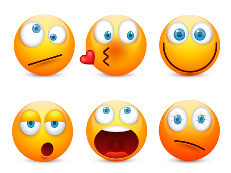 Smiley with blue eyes,emoticon set. Yellow face with emotions. Facial expression. 3d realistic emoji. Sad,happy,angry faces.Funny cartoon character.Mood.Vector illustration. Zdjęcie Seryjne - 83281646
