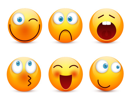 Smiley with blue eyes,emoticon set. Yellow face with emotions. Facial expression. 3d realistic emoji. Sad,happy,angry faces.Funny cartoon character.Mood.Vector illustration. Zdjęcie Seryjne - 83375152