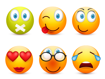 Smiley with blue eyes,emoticon set. Yellow face with emotions. Facial expression. 3d realistic emoji. Sad,happy,angry faces.Funny cartoon character.Mood.Vector illustration. Zdjęcie Seryjne - 83375153