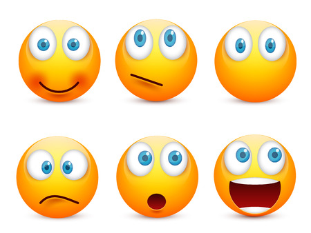 Smiley with blue eyes,emoticon set. Yellow face with emotions. Facial expression. 3d realistic emoji. Sad,happy,angry faces.Funny cartoon character.Mood.Vector illustration. Zdjęcie Seryjne - 83286190