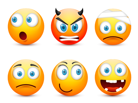 Smiley with blue eyes,emoticon set. Yellow face with emotions. Facial expression. 3d realistic emoji. Sad,happy,angry faces.Funny cartoon character.Mood.Vector illustration. Zdjęcie Seryjne - 83286191