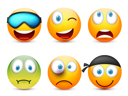 Smiley with blue eyes,emoticon set. Yellow face with emotions. Facial expression. 3d realistic emoji. Sad,happy,angry faces.Funny cartoon character.Mood.Vector illustration. Zdjęcie Seryjne - 83910894
