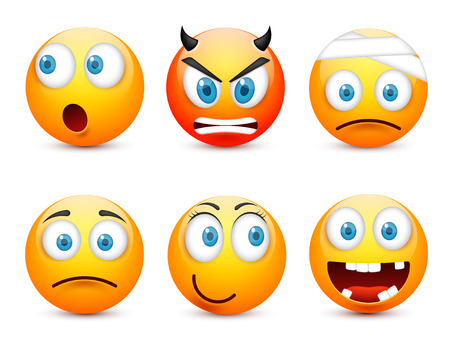 Smiley with blue eyes,emoticon set. Yellow face with emotions. Facial expression. 3d realistic emoji. Sad,happy,angry faces.Funny cartoon character.Mood.Vector illustration. Zdjęcie Seryjne - 83928003