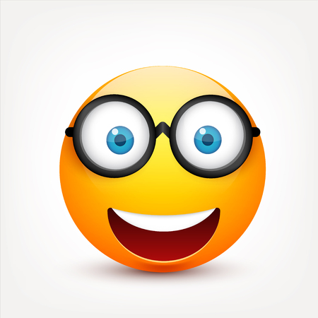 Smiley with blue eyes,emoticon. Yellow face with emotions. Facial expression. 3d realistic emoji. Sad,happy,angry faces.Funny cartoon character.Mood.Vector illustration. Иллюстрация