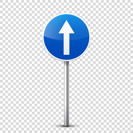 道路青に分離された透明な背景に署名します。  イラスト・ベクター素材