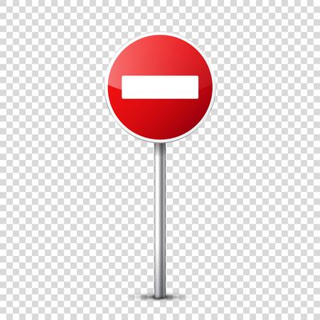 赤い標識透明な背景に分離されたコレクション。交通規制。車線の利用状況。停止し、降伏。規制標識。曲線となります。