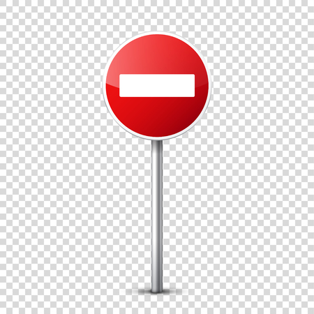 Road red signs collection isolated on transparent background. Road traffic control.Lane usage.Stop and yield. Regulatory signs. Curves and turns. Stok Fotoğraf - 83928238