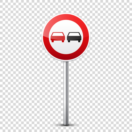 Road red signs collection isolated on transparent background. Road traffic control.Lane usage.Stop and yield. Regulatory signs. Curves and turns.