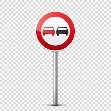 Verzameling van weg rode borden geïsoleerd op transparante achtergrond. Controle op wegverkeer. Gebruik van rijstrook. Stoppen en opbrengst. Regulatory signs. Bochten en bochten. Stock Illustratie