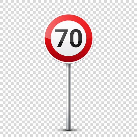 Road red signs collection isolated on transparent background. Road traffic control.Lane usage.Stop and yield. Regulatory signs. Curves and turns.Speed limit.