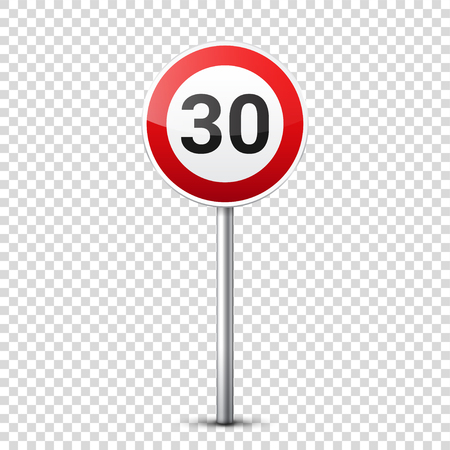 Road red signs collection isolated on transparent background. Road traffic control.Lane usage.Stop and yield. Regulatory signs. Curves and turns.Speed limit. Stok Fotoğraf - 83927781