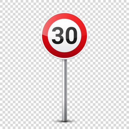 Verzameling van weg rode borden geïsoleerd op transparante achtergrond. Controle op wegverkeer. Gebruik van rijstrook. Stoppen en opbrengst. Regulatory signs. Curven en draaiingen. Snelheidslimiet.