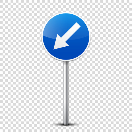 Road blue signs collection isolated on transparent background. Road traffic control.Lane usage.Stop and yield. Regulatory signs. Curves and turns. Stok Fotoğraf - 83928241