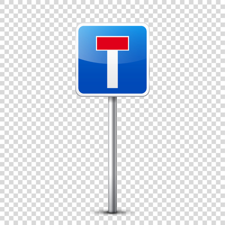 Verzameling van weg blauwe borden geïsoleerd op transparante achtergrond. Controle op wegverkeer. Gebruik van rijstrook. Stoppen en opbrengst. Regulatory signs. Bochten en bochten.