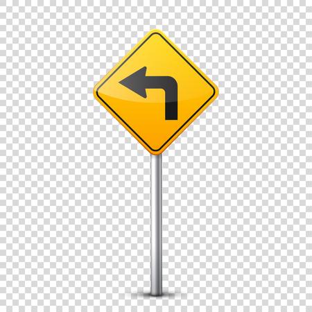 Weg geel teken dat op transparante achtergrond wordt geïsoleerd. Stock Illustratie