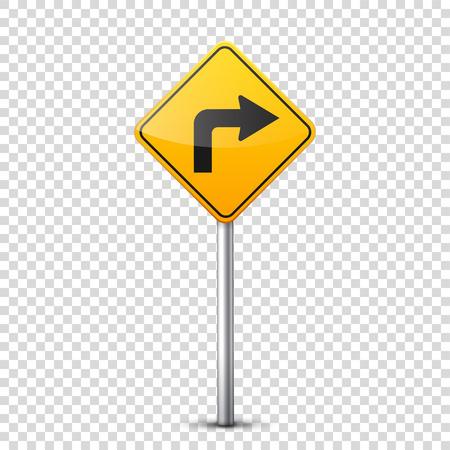 Weg gele borden collectie geïsoleerd op transparante achtergrond. Controle op wegverkeer. Gebruik van rijstrook. Stoppen en opbrengst. Regulatory signs. Bochten en bochten.