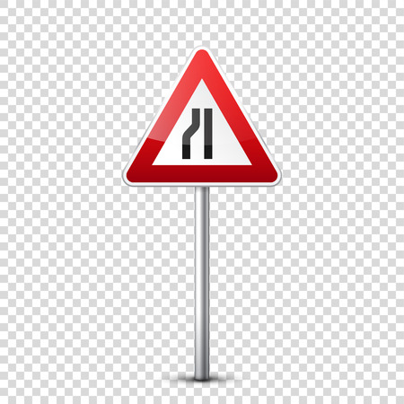 Road red signs collection isolated on transparent background. Road traffic control.Lane usage.Stop and yield. Regulatory signs. Curves and turns. Stok Fotoğraf - 83927793