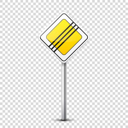 노란 징후 컬렉션 투명도 배경에 고립. 도로 교통 통제. 차선 사용. 정지 및 산출. 규제 징후. 곡선과 회전.