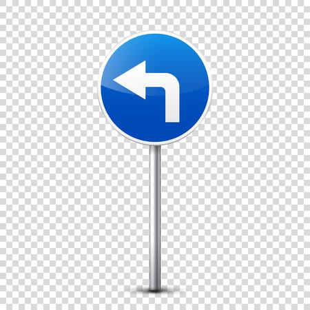 青い道路標識透明な背景に分離されたコレクションに。交通規制。車線の利用状況。停止し、降伏。規制標識。曲線となります。