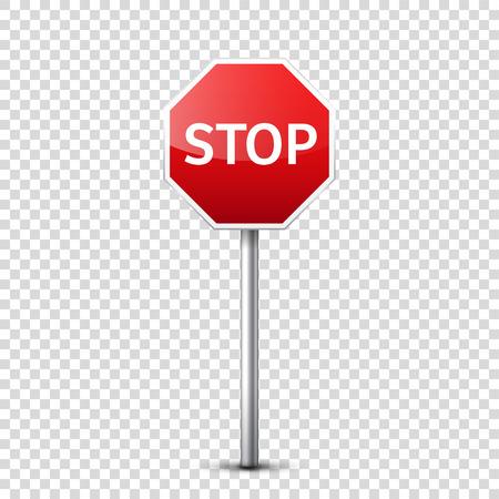 赤い道路標識は、透明な背景に分離されました。  イラスト・ベクター素材