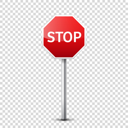 Road red sign isolated on transparent background.