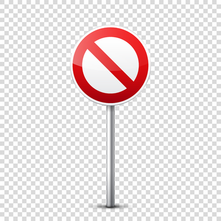 Road red signs collection isolated on transparent background. Road traffic control.Lane usage.Stop and yield. Regulatory signs. Curves and turns. Stok Fotoğraf - 83983941