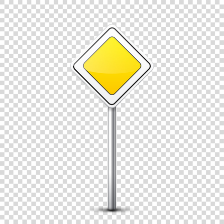 Road yellow sign isolated on transparent background. Çizim