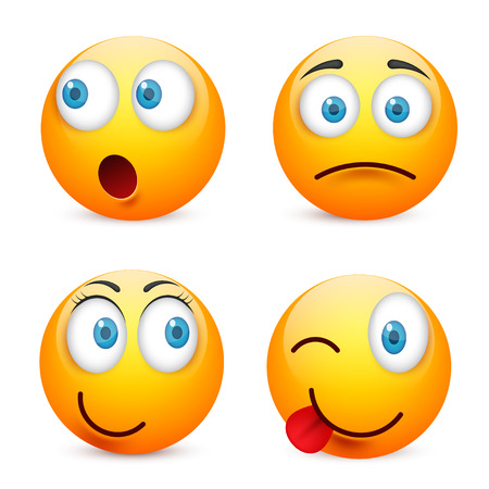 Smiley with blue eyes,emoticon set. Yellow face with emotions. Facial expression. 3d realistic emoji. Sad,happy,angry faces.Funny cartoon character.Mood.Vector illustration. Zdjęcie Seryjne - 83927991