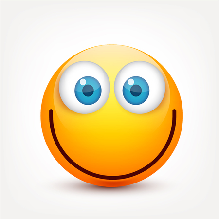 Smiley with blue eyes,emoticon set. Yellow face with emotions. Facial expression. 3d realistic emoji. Sad,happy,angry faces.Funny cartoon character.Mood.Vector illustration. Zdjęcie Seryjne - 83911511