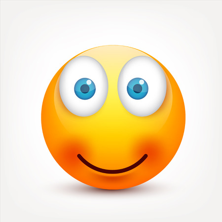 Smiley with blue eyes,emoticon set. Yellow face with emotions. Facial expression. 3d realistic emoji. Sad,happy,angry faces.Funny cartoon character.Mood.Vector illustration. Zdjęcie Seryjne - 83910891