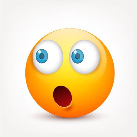 Smiley con ojos azules, conjunto de emoticonos. Cara amarilla con emociones. Expresión facial. Emoji realista en 3D. Caras tristes, felices y enojadas. Personaje de dibujos animados divertido. Humor. Ilustración de vector.