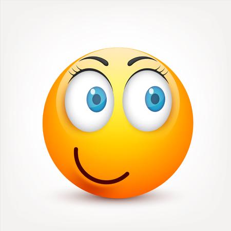 Smiley z niebieskimi oczami, zestaw emoticon. Żółta twarz z emocjami. Wyraz twarzy. 3d emoji realistyczne. Smutny, szczęśliwy, zły twarzy faces.Funny character.Mood.Vector cartoon ilustracji.