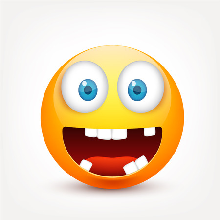 Smiley with blue eyes,emoticon set. Yellow face with emotions. Facial expression. 3d realistic emoji. Sad,happy,angry faces.Funny cartoon character.Mood.Vector illustration. Zdjęcie Seryjne - 83927987