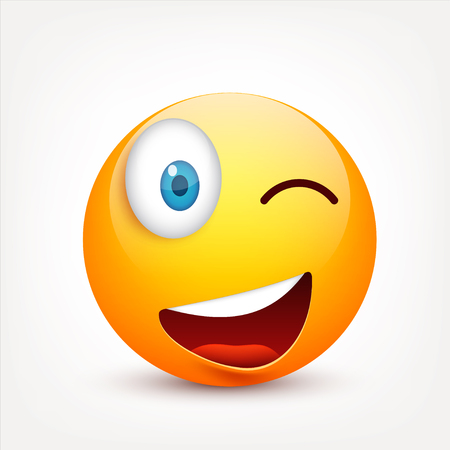 Smiley with blue eyes,emoticon set. Yellow face with emotions. Facial expression. 3d realistic emoji. Sad,happy,angry faces.Funny cartoon character.Mood.Vector illustration. Zdjęcie Seryjne - 83927119