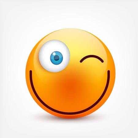 Smiley aux yeux bleus, jeu d'émoticônes. Visage jaune avec émotions. L'expression du visage. Emoji 3D réaliste. Visages tristes, heureux, en colère. Caractère de dessin animé. Illustration de Vaisselle. Banque d'images - 83910881
