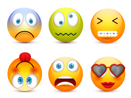 Smiley with blue eyes,emoticon set. Yellow face with emotions. Facial expression. 3d realistic emoji. Sad,happy,angry faces.Funny cartoon character.Mood.Vector illustration. Zdjęcie Seryjne - 83682464